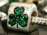 Irish Clover Shamrock Solid 925 Silver Bead European bracelets Custom Hand Made