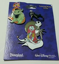 DISNEY PARKS NIGHTMARE BEFORE CHRISTMAS LANYARD MEDAL & PIN JACK AND SALLY GHOST