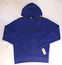 G-Star Raw Men Hoodie Size XL Fenster Full Zip Sweatshirt Hooded Blue