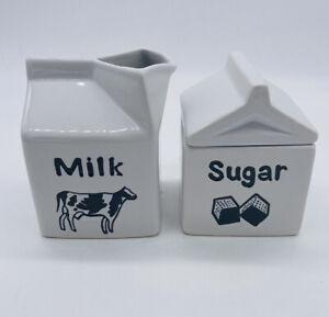Studio Nova Country Cottage Sugar Creamer Cow Milk Carton Set Black & White