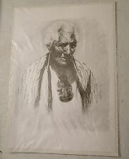 Print by Douglas Ferris, Atama Paparangi (after Goldie) of a Rangatira, Sealed