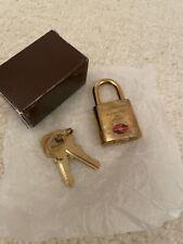 100% Auth LV Louis Vuitton Paris TSA Approved 007 Padlock & Keys Voyage Gold