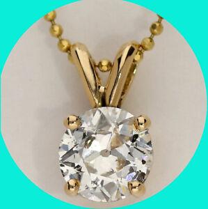 1.02CT diamond solitaire pendant necklace 14K YG round European cut bead chain