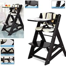Adjustable Height Wooden Baby High Chair With Removeable Tray Dining Table Brown