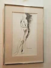Original Pen And Ink Of Nude Woman By Listed Artist Irving Rosenzweig