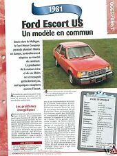 Ford Escort US 4 Cyl. 1981 USA Car Auto Voiture FICHE FRANCE