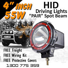 HID Driving Lights - Compact Pair 4 Inch 55w SPOT Beam 4x4 4wd Off Road 12v 24v