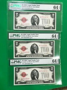3 Consecutive serial # $2 1928 PMG 64 EPQ UNC LEGAL TENDER 1928 RED SEAL AA BLOC