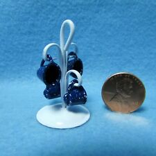 Dollhouse Miniature Coffee Cups in Blue Spatterware with Holder ~ B1034