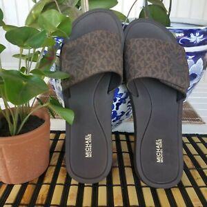 Michael Kors Mini MK Logo Womens Slide Sandals BROWN Sz 10 M NEW
