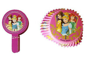 Disney Princess CUPCAKE PAPERS & TOPPERS birthday party supply baking cup 48pcs