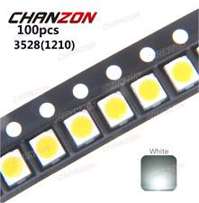 100pcs 3528 LED SMD White Chip PLCC2 Ultra Bright Surface Mount 20mA 3V 7-8LM