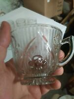 Lot 5 Clear Coffee Tea Cup Iris & Herringbone Depression Glass Antique Vintage