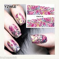 Nail Art Water Decals Wraps Neon Pink Leopard Print Spots Gel Polish (8116)