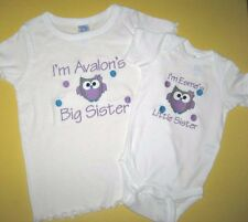 Personalized BIG / LITTLE SISTER BIG / LITTLE BROTHER OWL T Shirt & Creeper SET