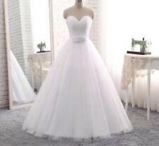 UK White/Ivory Strapless  A-Line Crystal Wedding Dress Bridal Gown Size 6-16