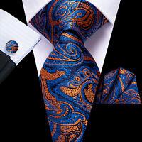 Mens tie Classic Blue orange peisley self tie Silk Bussiness Necktie Set Wedding