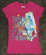 "NWT Girls Short Sleeve "" Peace, Love & Ponies"" Shirt Size XL (14-16)"