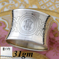 """Fab Antique Continental .800 (nearly sterling) Silver Napkin Ring, """"EW"""", Convex"""