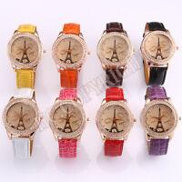 Fashion Women Rhinestone Analog Eiffel Tower Quartz PU Leather Band Wrist Watch