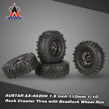 4Pcs 1.9 Inch 110mm 1/10 Rock Crawler Tires with Beadlock Wheel Rim for RC Car