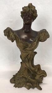Antique Art Nouveau Spelter Metal Woman Lady Bust Statue