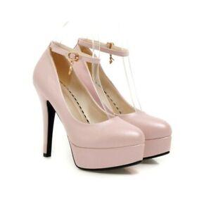 4 Farben Damen Schuhe Rund 12CM Heel Schnalle Mary Jane 40 41 42 43 Hochzeit D