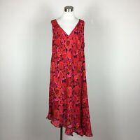 Venezia 22 24 Dress Red Sleeveless V Neck Lined Floral Asymmteric Ruffle Hem