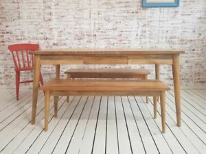 Mid-Century Modern Extending Hardwood Dining Table & Bench Set - Free Delivery