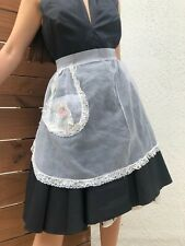 Vintage 60's Half Apron Sheer Chiffon and Lace Edges White Floral Pocket