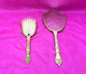 Antique Vanity Hand Mirror & Brush Set Roses Floral Brass Handle Gold Flowers