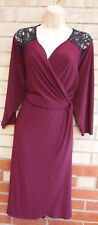 PURPLE BURGUNDY LACE LONG SLEEVE CROCHET LYCRA A LINE STRETCH TEA DRESS 24
