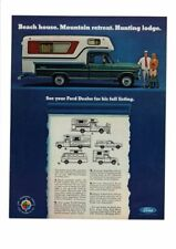 VINTAGE 1967 FORD TRUCK CAMPER MOUNTAIN RETREAT HUNTING LODGE BEACH AD PRINT