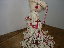 Vintage Crocheted Hand Sculptured Southern Lady w/Parasol Victorian