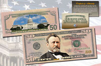 FIFTY DOLLAR $50 U.S. Bill Genuine Legal Tender Currency COLORIZED 2-SIDED