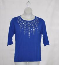 Bob Mackie Sequin Embroidered Sweater Size S Royal Blue