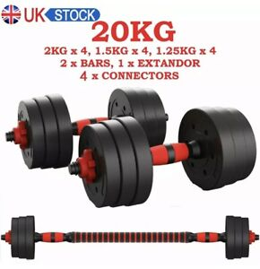 Adjustable Dumbbell Barbell Weights 20kg Set Home Gym Fitness Training