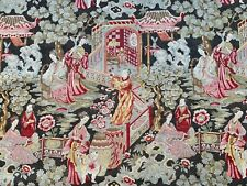 More details for beautiful unused vintage chinoiserie oriental design linen fabric - by the m