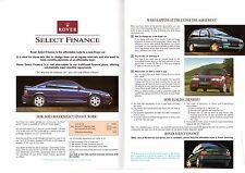 Rover Select Finance 1993 UK Market Foldout Sales Brochure Metro 200 400