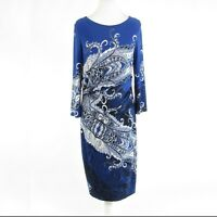 Dark blue white paisley DAVID MEISTER stretch 3/4 sleeve shift dress 14