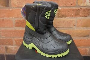 MUDDY PUDDLES KIDS THERMAL SNOW BOOTS - BLACK GREEN SNOWFLAKE UK 7.5 8 1 1.5 2 3