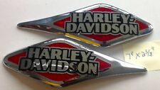 Harley Davidson Tank Emblems Chrome and Red Badge