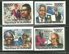 BURUNDI 991-94 MNH FAMOUS AFRICANS IMPERF SCV 15.00