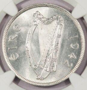 1942 Ireland 1/2C Half Crown NGC MS64