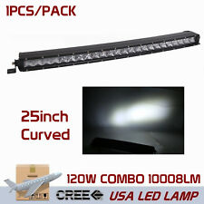 "25""inch 120W Curved Cree LED Light Bar Slim Combo Lamp UTE Jeep Ford Single Row"