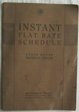 Vintage 1933 Automotive Instant Flat Rate Schedule Labor Hours Materials Prices