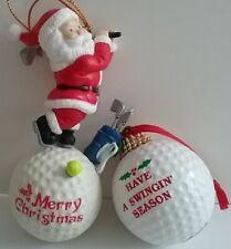 Golf Bag & Balls Christmas String Lights & 2 Golf Ornaments Ball & Santa One Lot