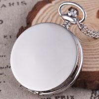 Full Hunter Quartz Movement Silver Pocket Watch Vintage Pendant Chain Men Women