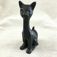 Antique Lucky Black Cat Victorian Bretby Pottery Glass Eyes Figure Ornament