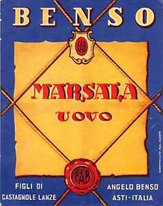 """01809 """"MARSALA ALL'UOVO - BENSO - CASTAGNOLE LANZE"""" ETICH. ORIG."""